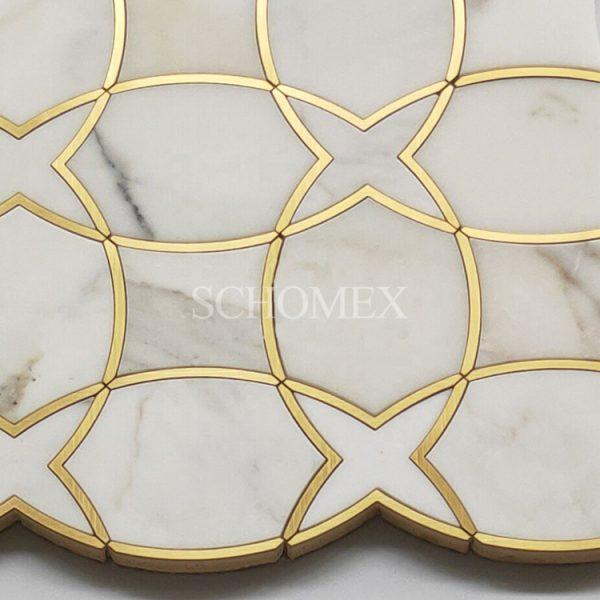 Soulscrafts Calacatta Gold Brass Waterjet Mosaic Tile